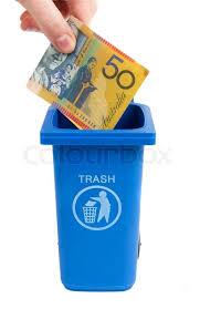 money to trash